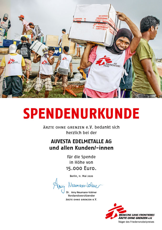 Auvesta is donating EUR 15,000 to Doctors Without Borders